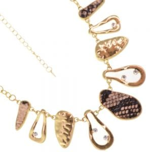 Striking Fashion Jewellery: Hammered Gold, Crystal and Snake Print Effect Necklace (YK317)B)