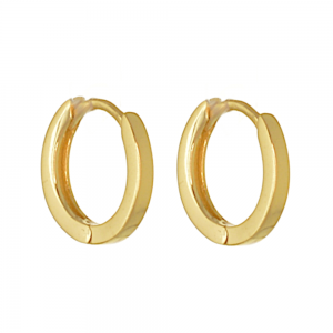 Gold-Plated Sterling Silver: Tiny Minimalist Hinged Gold Hoop Earrings (8mm Inner Diameter) (E300)