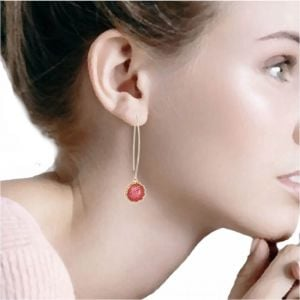 Beautiful Fashion Jewellery: Long Gold Tone Hooked Earrings with Sparkly Red Druzy Stone (5.5cm x 1.2cm) (I27)C)