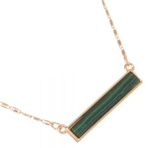 Delicate Fashion Jewellery: Dainty Gold Tone Necklace with Marbled Green agate Bar Pendant (I38)C)