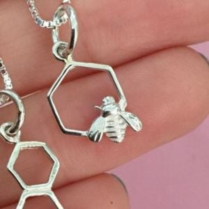 Quirky Sterling Silver Jewellery: Little Bee and Honeycomb Hexagon Pendant (N270)