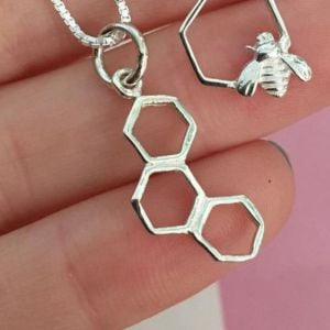 Quirky Sterling Silver Jewellery: Minimalist Honeycomb Hexagon Pendant (N325)