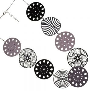 Beautiful Long 76cm Necklace with Large 6cm Laser-Cut Decorative Wooden and Metallic Discs in Black, Grey and White (YK139)B)