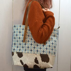 Handcrafted Bhrayna Bags: Mint and Blue Bubbles on Canvas and Cowhide Tote Bag (BG10)