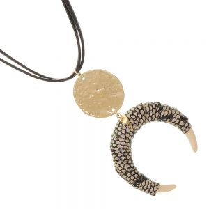 Boho Fashion Jewellery: 81cm Black Cord Necklace with Statement Horn Pendant Wrapped in Snakeskin Print (EV10)