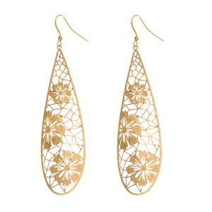 x Floral Fashion Jewellery: Long Silver Teardrop Earrings with Scratched Finish
