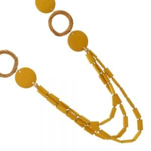 Boho Fashion Jewellery: 101cm Worn Gold and Bright Yellow Wooden Statement Necklace with Basket Weave Detail (EV9)