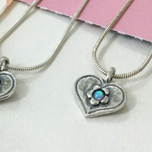 Aviv Sterling Silver: Silver Opal Heart with Floral Detail