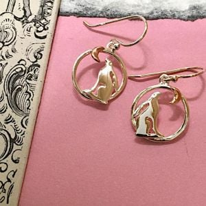 Sterling Silver with Rose Gold Jewellery: Lovely Moon Gazing Hare Earrings