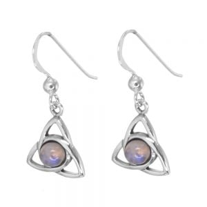 Celtic Sterling Silver Triquetra Earrings with Moonstone (12mm x 25mm) (E321)B)