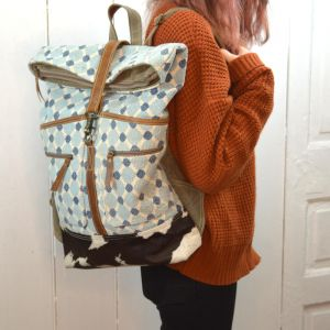 Handcrafted Bhrayna Bags: Mint and Blue Bubbles Design Canvas Backpack (BG7)
