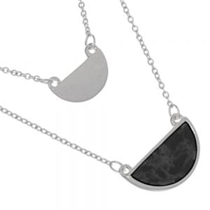 Delicate Fashion Jewellery: Double Layered Necklace with Semi-Circle Pendant and Black Howlite Pendant (I37)B)