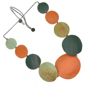 Fashion Jewellery: Adjustable Grey Cord Mid-Length Necklace with Pumpkin Orange and Forest Green Painted Wooden Discs (SB44)B)