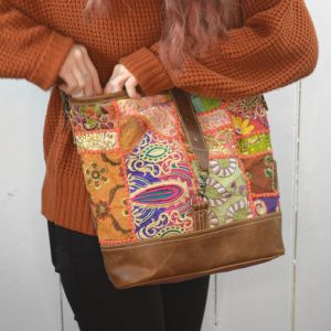 Handcrafted Bhrayna Bags: Purple Green and Red Floral Shoulder Bag (BG3)