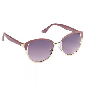 Eyelevel Women's Sunglasses: Berry Pink and Gold Rounded Design (SU13)