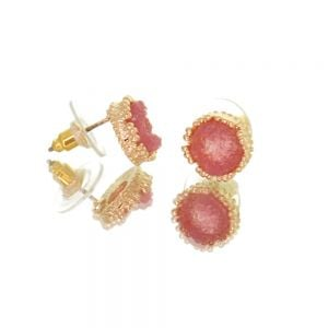 Beautiful Fashion Jewellery: Small and Delicate pink Druzy and Gold Tone Stud Earrings [1cm Diameter] (I33)R)