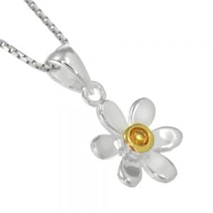 Pretty Sterling Silver and Gold Daisy Pendant with Yellow Citrine Centre (N134)E)