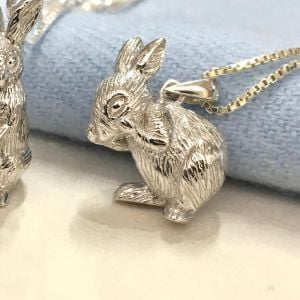 Lovely Sterling Silver Jewellery: Adorable Bunny Rabbit Pendant with Textured Finish