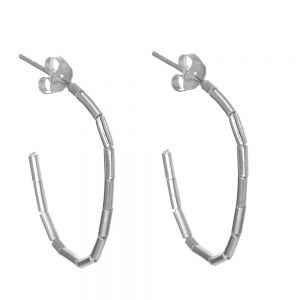 Classic Sterling Silver Jewellery: Bamboo Style 3/4 Oval Hoop Earrings (26mm x 19mm) (E695)