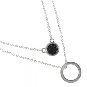 Delicate Fashion Jewellery: Double Layered Necklace with Circle Pendant and Black Howlite Pendant (I36)B)