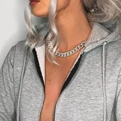 Bold Fashion Jewellery: Short Heavy Chain Link Matt Silver Necklace(M52)A)