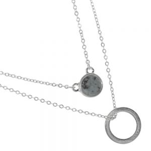 Delicate Fashion Jewellery: Double Layered Necklace with Circle Pendant and Dark Grey Howlite Pendant (I36)D)