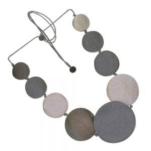 Adjustable Grey Cord Mid-Length Necklace with Silver Grey and Blue Painted Wooden Discs (SB44)D)