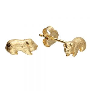 Sterling Silver: realistic gold-plated guinea pig stud Earring  (E430)G