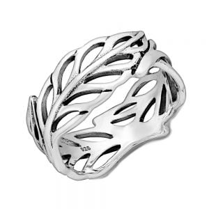 Sterling Silver Jewellery: Chunky Oxidised Leaf Ring (SR121)