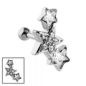 Surgical Steel: Silver Tone Sparkly Triple Star Tragus or Helix Cartilage Piercing (C3)