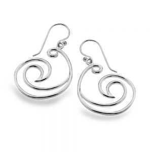Statement Sterling Silver Jewellery: Swirling Ocean Wave Earrings (40mm x 22mm) (E650)