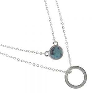 Delicate Fashion Jewellery: Double Layered Necklace with Circle Pendant and Turquoise Pendant (I36)C)