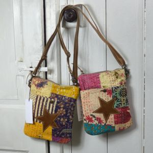 Handcrafted Upcycled Bags: Catchy Colors Patchwork and Star Crossbody Bag (BG2)