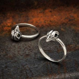 Quirky Sterling Silver Jewellery: Small Sparrow Skull Ring (SR27)