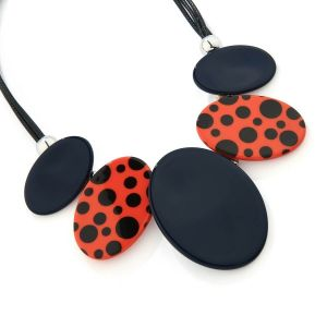 Bold Fashion Jewellery: Statement Black Cord Necklace with Mustard and Polka Dot Black/Red Pendants (YK20)B)