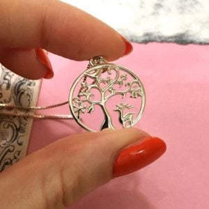 NEW Sterling Silver Jewellery: Tree of Life Pendant with Stag and Bird Design (21mm Diameter) (N152)