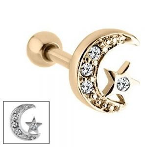 Surgical Steel: Silver Tone Sparkly Crescent Moon and Star Cartilage Piercing (C2)A)