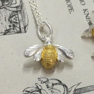 sterling silver. Bumblebees are associated with industriousness, loyalty and family. The popularity of the bee symbol has risen in recent years as their importance to life on earth has become more widely understood. Original handmade jewellery by Sea Gems