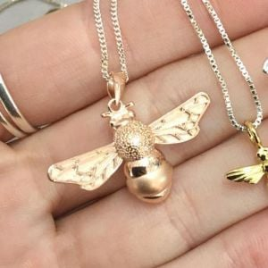 Beautiful Sterling Silver Jewellery: Rose Gold Plated Matt and Shiny Textured Bumblebee Pendant