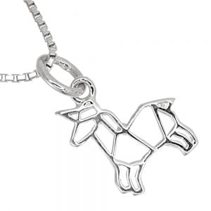 Quirky Sterling Silver Jewellery: Small and Cute Origami Unicorn Pendant (10mm x 18mm) (N176)