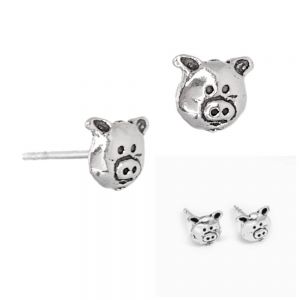Adorable Sterling Silver Jewellery: Small Pig Face Stud Earrings (6.5mm x 5mm) (E708)