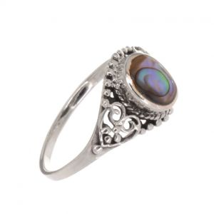 Sterling Silver Jewellery: Vintage Inspired Ring with Abalone and Ornate Detailing