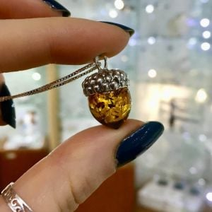 Quirky Sterling Silver: Lovely Acorn Pendant with Cognac Amber Nut (22mm) (N286)