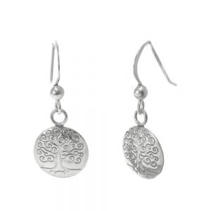 Sterling Silver Jewellery: Discs Drops with Swirly Tree of Life Design (11mm Diameter) ()