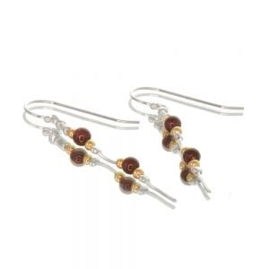 Sterling Silver Morning Dew Collection: Delicate 5cm Earrings with Dark Red Garnet and Gold Beads (E10)