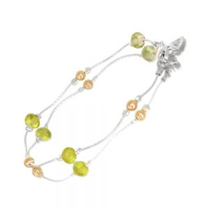 Sterling Silver Morning Dew Collection: Delicate 19cm  Bracelet with Peridot and Gold Beads (B67)