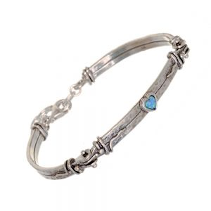Aviv Sterling Silver Jewellery: Gorgeous Cuff Bracelet with Opal Heart (Max 60mm x 70mm) (B66)