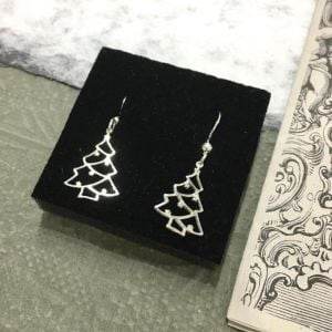 Festive Sterling Silver Jewellery: Christmas Tree Earrings with Tiny Star 'Baubles' (12mm x 30mm) (E245)