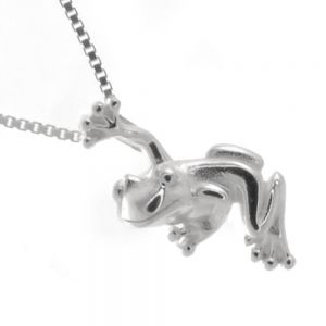 Animal Theme Sterling Silver Jewellery: Cute Hanging Frog Pendant (8mm x 18mm) (N342)