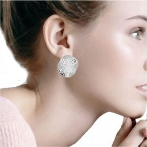 Statement Sterling Silver Jewellery: Large 29mm Hammered Circle Stud Earrings (E44)